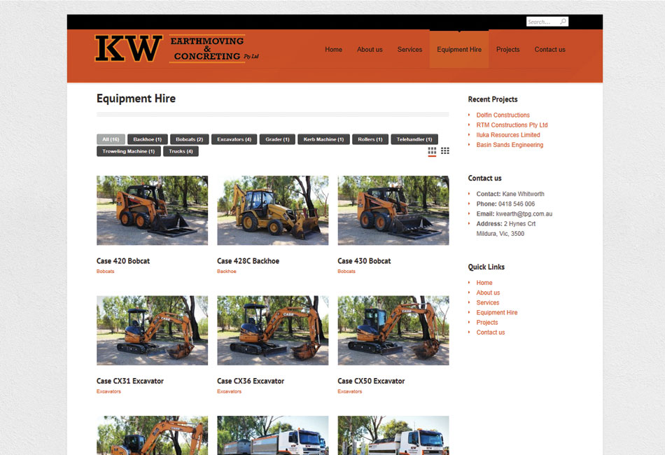 KW Earthmoving & Concreting Website