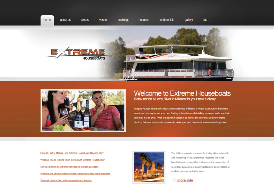 Extreme Houseboats Website